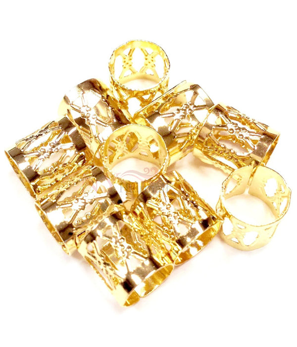 Hair Rings for Dreadlocks, Braiding & Natural Hair (Large) - Gold