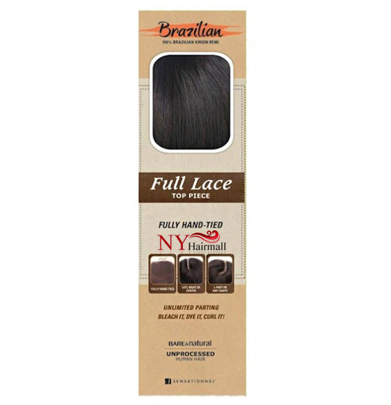 Sensationnel  Bare & Natural Unprocessed 100% Virgin Remi Full Lace TOP PIECE