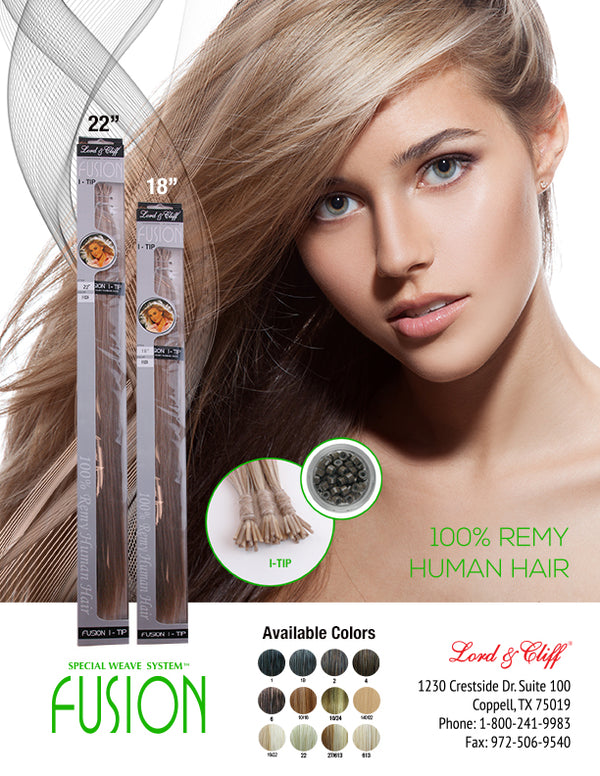 "Lord & Cliff 18"" I-Tip Crystal Human Remi Fusion Remy Hair Extensions"