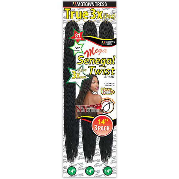 Motown Tress CST. Mega 14 Crochet Senegal Twist MultiPack 14""