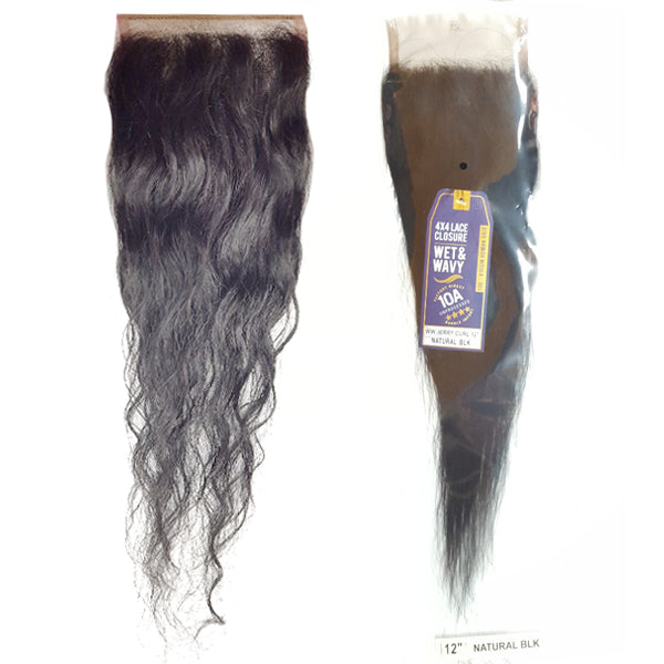 10A Virgin 4x4 Lace Closure (Wet & Wavy) - JERRY CURL 12""