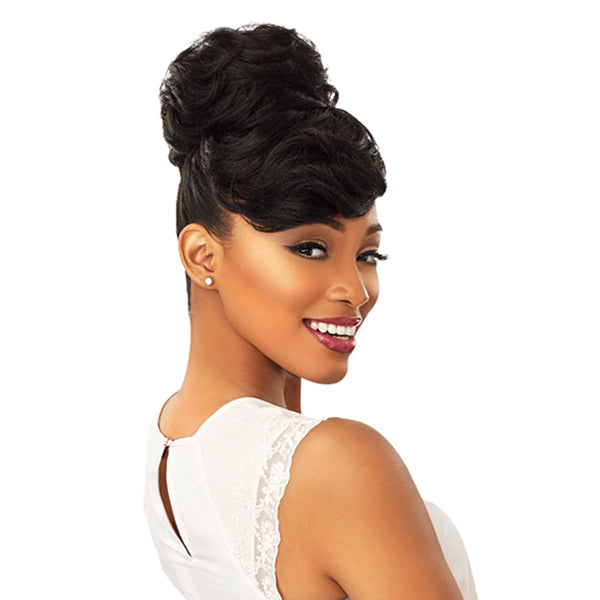 Sensationnel Instant Bun With Bangs Synthetic Drawstring Bun - CARLA