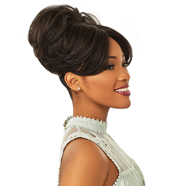 Sensationnel Instant Bun With Bangs Synthetic Drawstring Bun - EVONNE