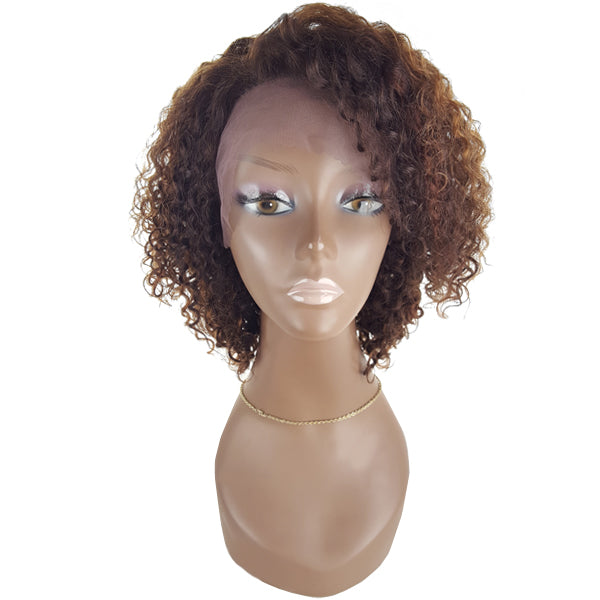 Lord & Cliff BLK 100% Virgin Remy Human Hair Lace Front Wig - KINKY CURL 12""