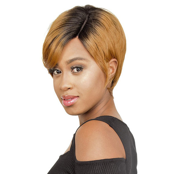 The Wig Brazilian Human Hair Blend Lace Part Full Wig - LH PART ELLEN