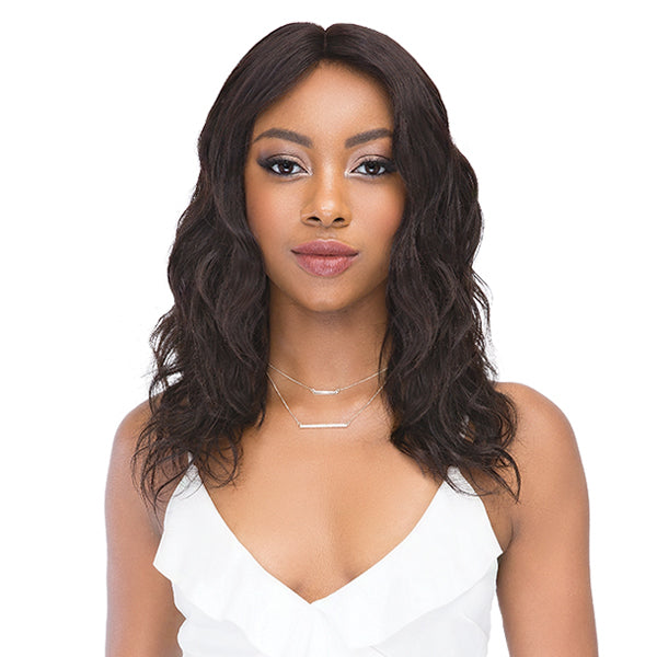 Janet Collection 100% Natural Virgin Remy Hair Deep Part Lace Front Wig - NATURAL 18""