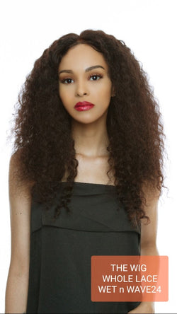 The Wig Black Pink 100% Brazilian Remy Whole Lace wig - HBL WL- WET&WAVE 24""