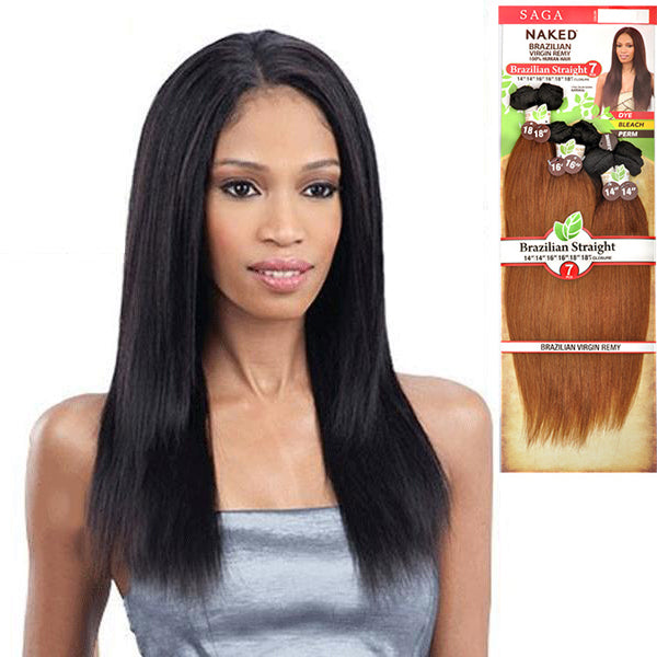 Saga Naked 100% Unprocessed Brazilian Virgin Remy Hair - Brazilian Straight 7PCS