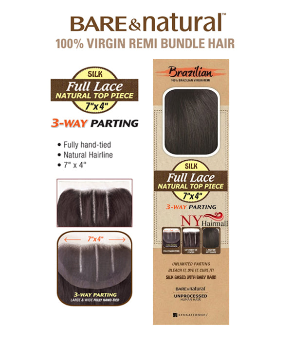 Sensationnel Brazilian (B&N) SILK Full Lace Top Piece 3 Way Part Straight Closure