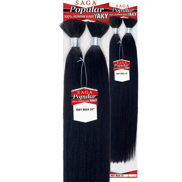 Saga Popular 100% Human Hair Braid - YAKY BULK 18""