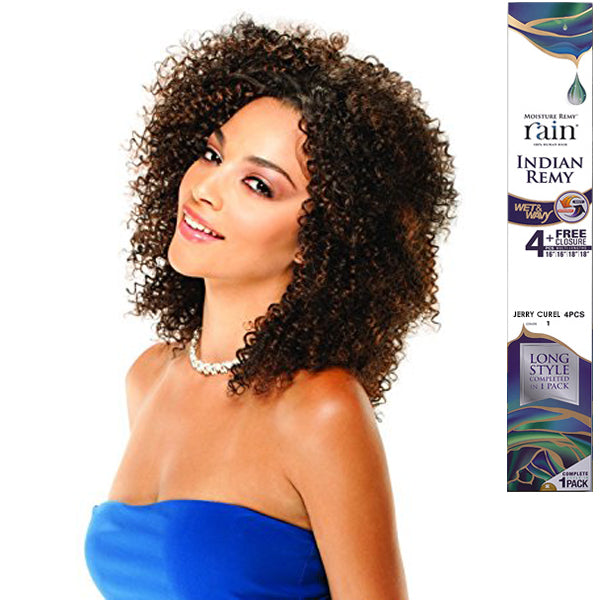 Moisture Remy Rain Indian Remy Wet & Wavy Jerry Curl 4PCS