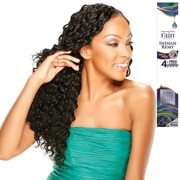 Moisture Remy Rain Indian Remy Wet & Wavy Long Loose Deep 4PCS