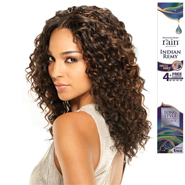 Moisture Remy Rain Indian Remy Wet & Wavy Loose Deep 4PCS