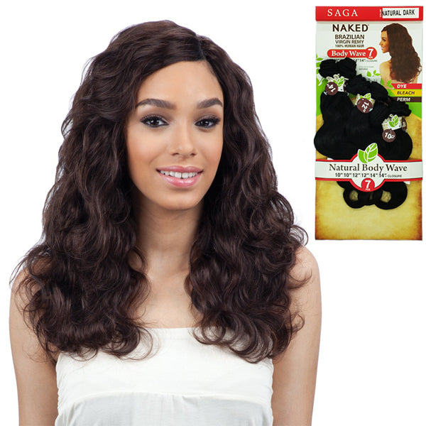 "Saga Naked Unprocessed Brazilian Virgin Remy Hair - Natural Body Wave 7PCS (14"" +16"" + 18"")"