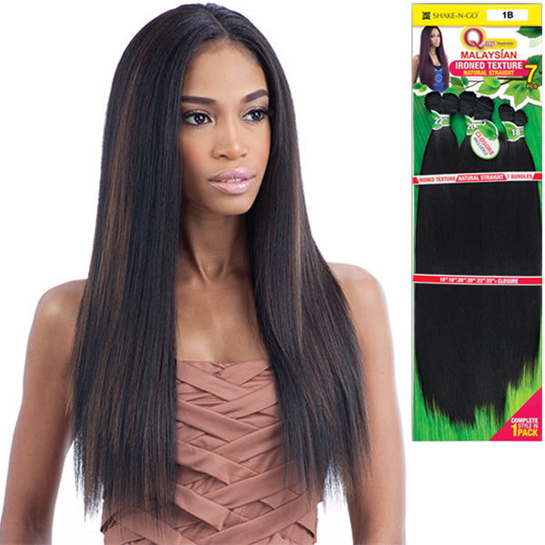 "MilkyWay Que Human Blend Weave - Malaysian Ironed Texture Natural Straight 7PCS - 14""16""18"""