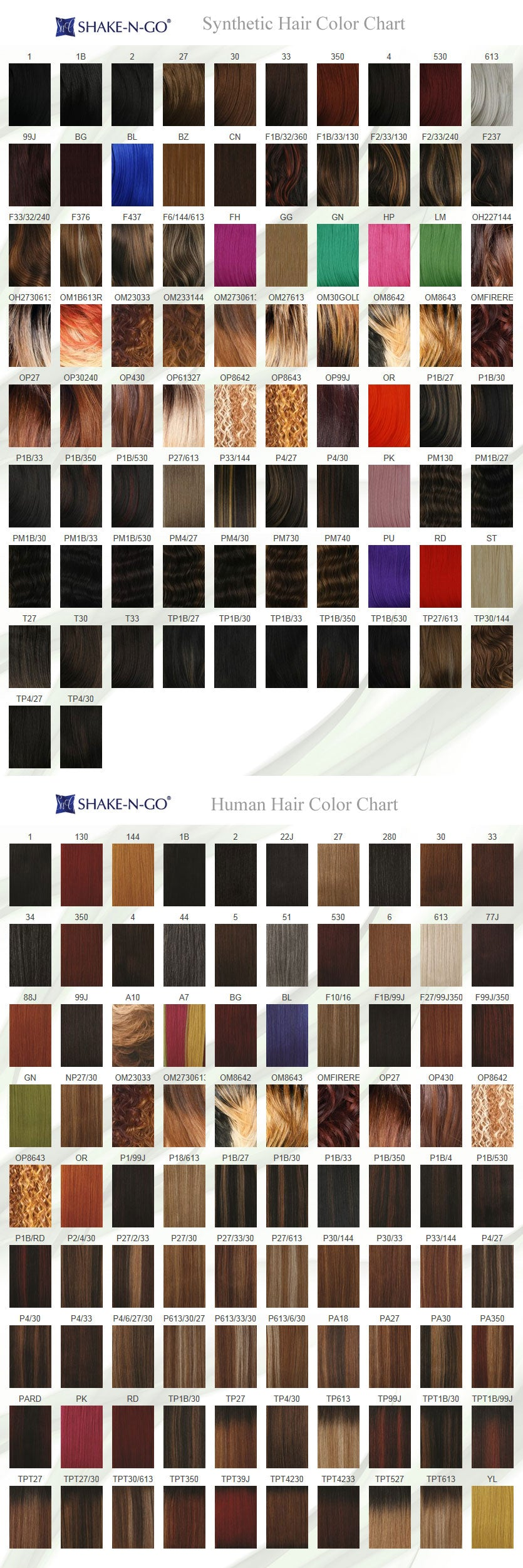 SNG Freetress Syn & Hum Hair Color Chart