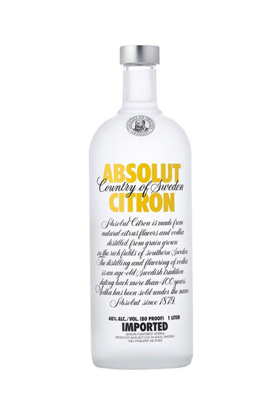 Absolut Citron, Swedish Wheat Vodka, 1 Liter - The Corkery Wine & Spirits