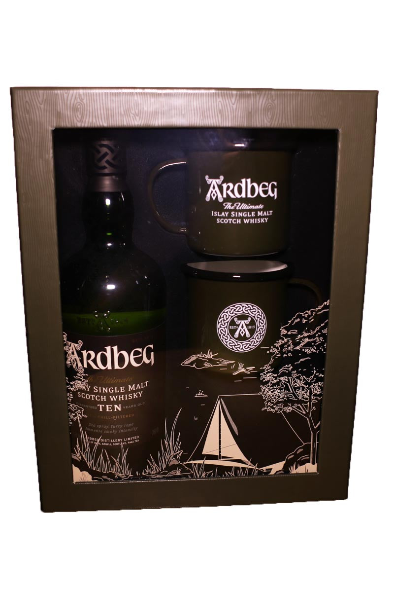 Ardbeg, Islay Single Malt 10 Year Scotch Whisky (gift sets with two camping mugs) 750mL