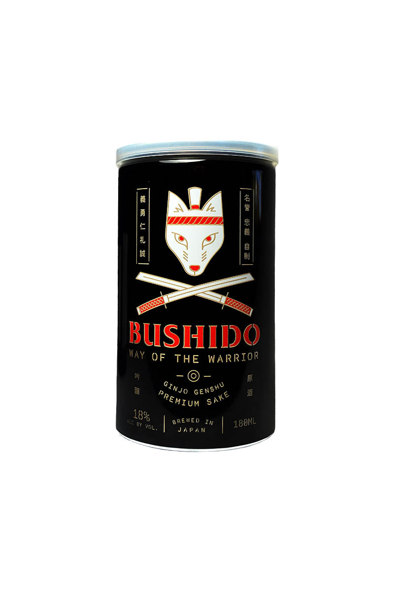 "Bushido, Ginjo Genshu Sake ""Way of the Warrior"" Japan 180mL CAN"