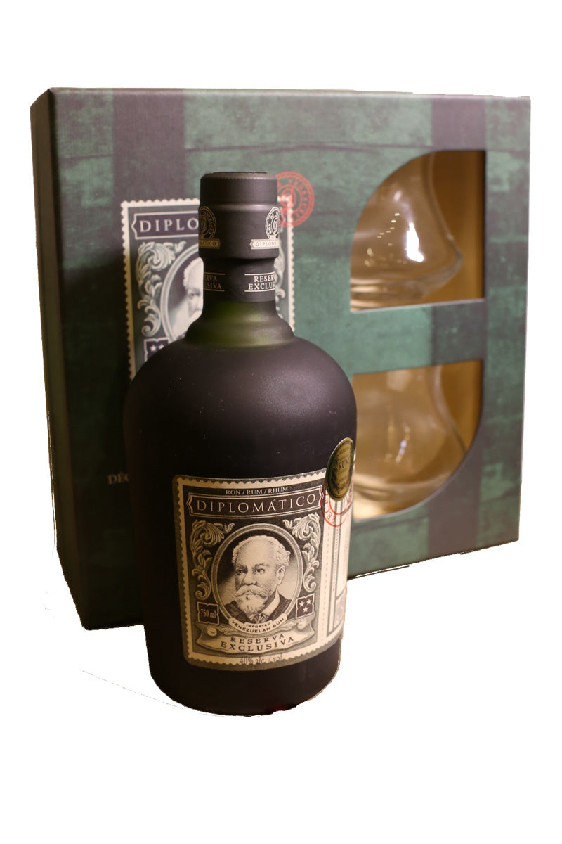 Diplomatico Reserva Exclusiva Rum, Venezuela (gift set with two glasses) 750mL