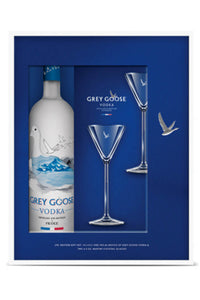 Grey Goose French Wheat Vodka (Gift set with two Martini glasses)1.75L