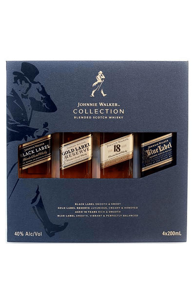 Johnnie Walker Collection Pack 4x200mL set (black, gold, 18, blue) Blended Scotch