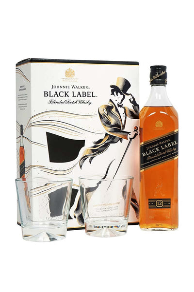 Johnnie Walker Black 12Yr. Blended Scotch Whiskey (gift set with two glasses) 750mL