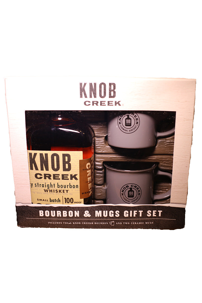 Knob Creek Small Batch Bourbon 100 Proof, Kentucky (gift set with two ceramic mugs) 750mL