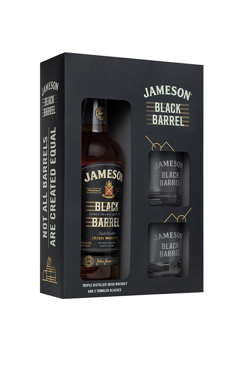 Jameson Black Barrel Irish Whiskey (gift set with two glasses) 750mL