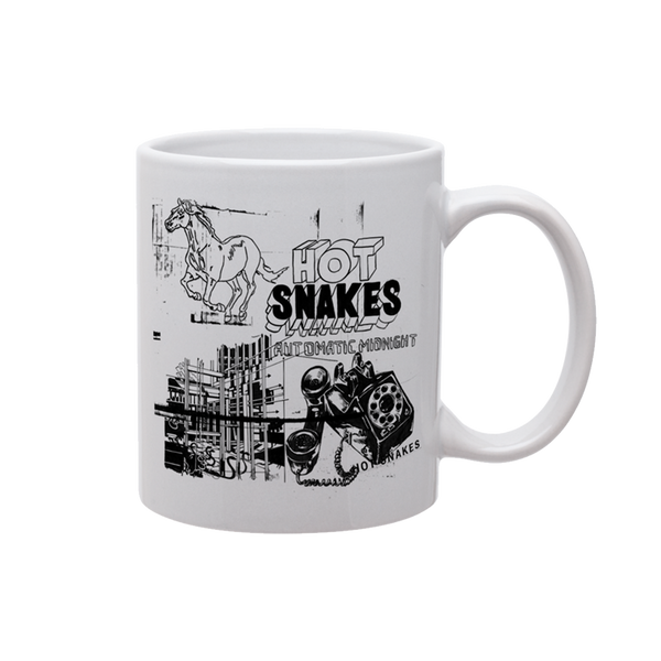 HOT SNAKES 'AUTOMATIC MIDNIGHT' WHITE COFFEE MUG