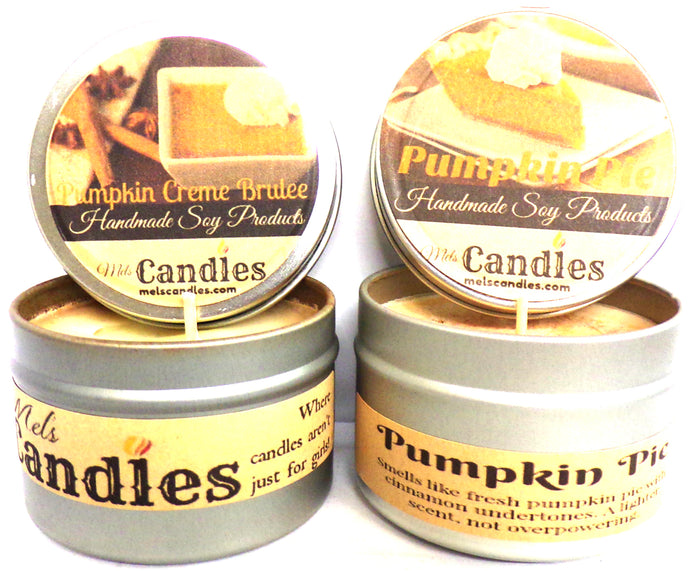 COMBO Pumpkin Pie and Pumpkin Creme Brulee Set of Two- 4oz Soy Tin Candles