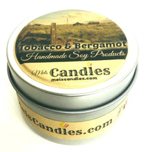 Load image into Gallery viewer, Tobacco and Bergamot 4 Ounce Handmade Soy Candle Tin
