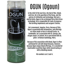 Load image into Gallery viewer, Orisha Ogun 7 Day Candle, Green / Black Spiritual Candle