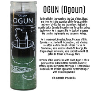 Orisha Ogun 7 Day Candle, Green / Black Spiritual Candle