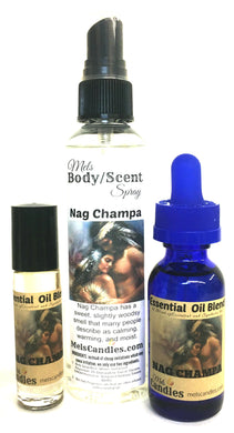 Combo Nag Champa -3 items - 4 ounce l Bottle Of Scent Spray, 1 ounce Bottle Oil And 10 Ml Roll-On Perfume Oil