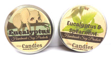 Load image into Gallery viewer, COMBO SET Eucalyptus and Eucalyptus & Spearmint 4 Ounce 100% Soy Candle Tins