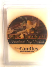 Load image into Gallery viewer, Sage and Lemongrass - 3.4 Ounce Pack of Soy Wax Tarts - Mels Melts