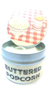 Buttered Popcorn 4oz All Natural Hand Made Novelty Soy Candle Tin Approximate Burn Time 30 Hours - mels-candles-more