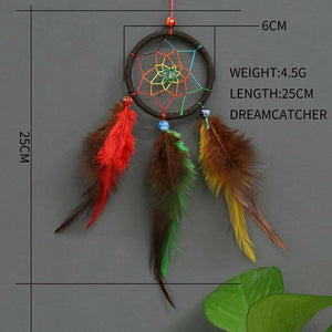 Multi Colored Dream Catcher - Small and Beautiful - Brown Hoop