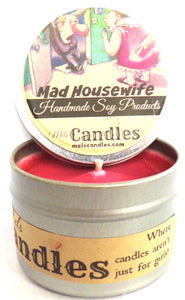 Mad Housewife 4 Ounce 100% Soy Candle Tin - 100% Handmade in USA