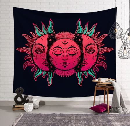 Pink Three Moons / Black Tapestry, Wall Hanging, Home Decor