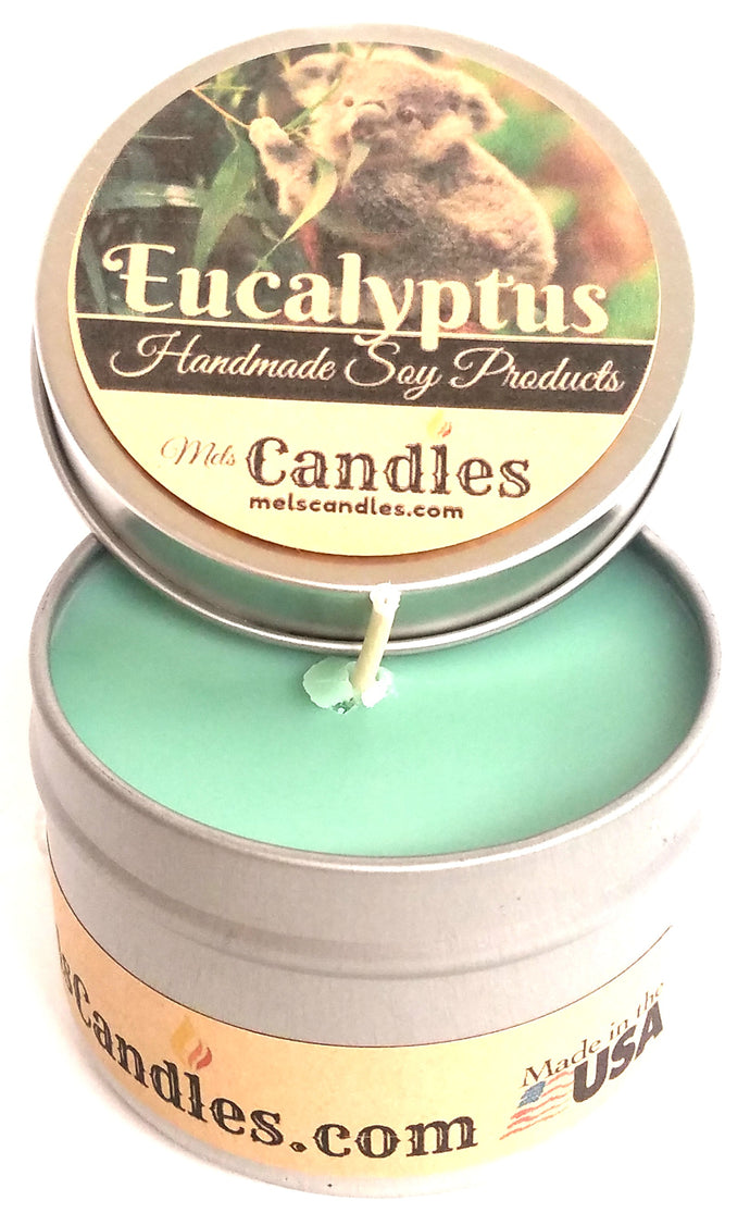 Eucalyptus 4 ounce All Natural Tin Soy Candle