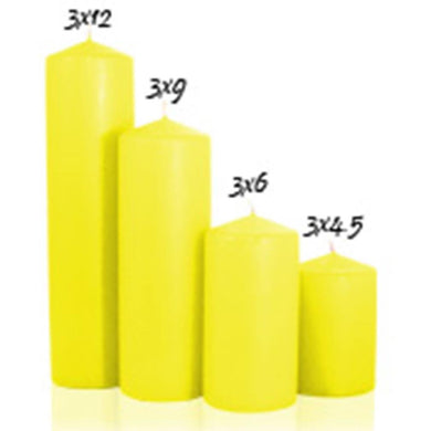 Yellow 3 inch x 12 inch Pillar Candle Unscented - mels-candles-more