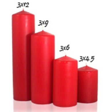Red 3 inch x 12 inch Pillar Candle Unscented - mels-candles-more