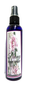 Peony 4oz Blue Bottle of Body Spray   Room Spray   Scent Spray - mels-candles-more