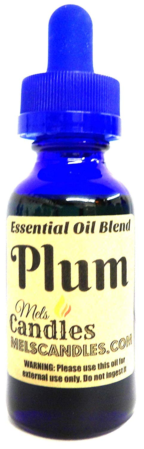 Plum 1oz 29.5ml Blue Glass Bottle of Premium Fragrance Oil Infused with Essential Oil, Skin Safe Oil, Candles, Lotions Soap and More - mels-candles-more