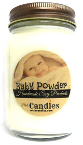 Baby Powder - 16 Ounce Country Jar 100% Soy Candle - Handmade in USA - mels-candles-more