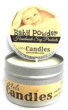 Load image into Gallery viewer, Baby Powder 4oz All Natural Novelty Tin Soy Candle, Take It Any Where Approximate Burn Time 30 Hours - mels-candles-more