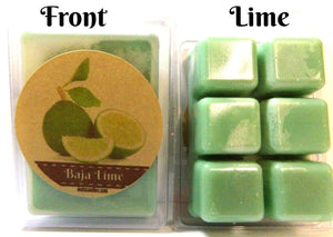 Baja Lime Pack of 3.2oz Soy Wax Tarts (6 Cubes Per Pack) Wax Melts - mels-candles-more