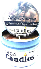 Load image into Gallery viewer, Nag Champa 4 oz Hand Made All Natural Soy Candle Tin - mels-candles-more